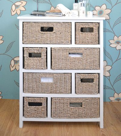 White cabinet with 8 whitewash baskets